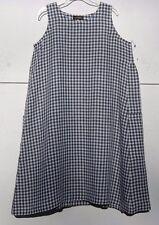 NEW Eskandar OLIVE/WHITE Gingham Check Side Pleated LinenA-LineDress (1) $895