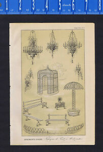 Garden & Lamp Ornaments, from Factory in Metz  - van Houtte Botanical 1853