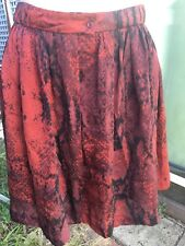 Country Road 12 Silk snake print wine red skirt vgc