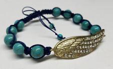 ANGEL WING BRAIDED SHAMBALLA BEADED ROPE BRACELET- Blue & Turquoise - RHINESTONE