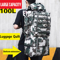 100L Mountaineering Bag Waterproof Oxford Backpack Camouflage Outdoor Travel