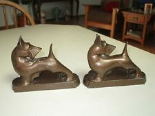 PAIR 2 FRANKART 1930'S ART DECO SCOTTIE TERRIER DOG METAL BOOKENDS SIGNED