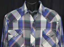 Vtg Williams Bay Western Shirt Rockabilly Cowboy Plaid Rodeo Pearl Snap Check Xl