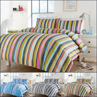 Striped Bedding Duvet Cover Set Cotton Quilt Single Double Super King Size New