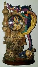 "Dragon Clock 2-Headed w/ Wings, Castle & Skulls, Fantasy Glittery Colorful 9.5""H"