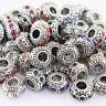 Czech Crystal Zinc Alloy Big Hole Round European Charm Spacer Beads Fit Bracelet