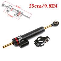 9.8in Motorcycle Steering Damper Stabilizer CNC Black Carbon Fiber Universal