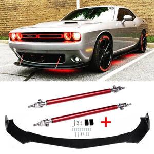 For Dodge Challenger SRT SXT RT Front Bumper Lip Spoiler Splitter w/ Strut Rods