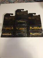 2018 Hot Wheels Black & Gold 50th Anniversary 6 Cars + 1 Gold 1967 Camaro