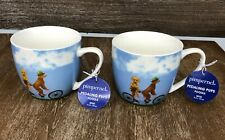 New Set of 2 Pimpernel Pedaling Pups Poodle Coffee mug / Tea cup 16 oz