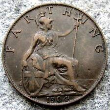 GREAT BRITAIN EDWARD VII 1904 FARTHING, BRONZE
