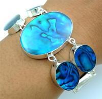 Natural Blue Paua Abalone Shell 925 Sterling Silver Bracelet Women Jewelry SD118