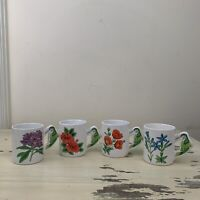 FLORAL MUGS - Vtg PMC Hummingbirds & Flowers Art Of 4 Ceramic Coffee Tea Cups