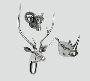 Large Wall Mounted Metal Stag Head With Rhino & Ram Head Deer Antelope fx/]-