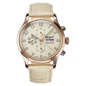 Ingersoll Uhr Fairbanks IN1416YL Automatik Armbanduhr Rosegold Leder Beige Datum