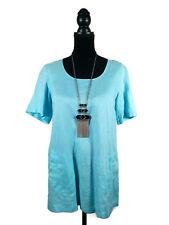GORDON SMITH 100% Linen Tunic Shirt - Aqua/Pale Blue Button Short Sleeve - 10/M