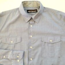 Reyn Spooner Casual Shirt Blue Button Front Size Medium