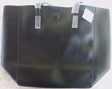macys large shopper tote bag black/blue faux saffiano leather