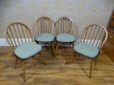 set of 4 Vintage Genuine Ercol Windsor Blonde Kitchen dining chairs & cushions