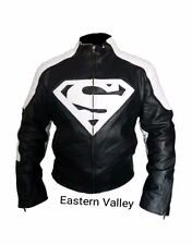 New Mens SUPERMAN Motorcycle Racing Biker 100% Cowhide Leather Jacket ALL SIZES.