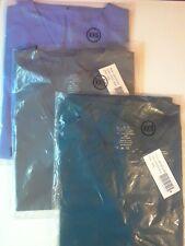 Lydia's Scrubs Set of 3 Tops Xxs Pockets Ceil Blue Caribbean Blue Steel Gray Nwt