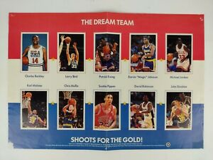 Vintage 1992 Dream Team NBA Basketball Scholastic Fold Out Poster