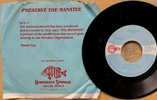 PRESERVE THE MANATEE promotional fundraising 45 rpm record: DAVID WALSH Manatee