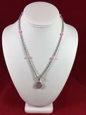 "Judith Ripka Shell Pink Jade and CZ Heart Station SS 18"" Necklace"