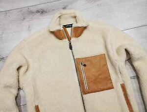 ORVIS___ Sherpa Fleece Leather Jacket Mens Ivory___ Size XL