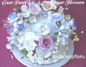 Gum Paste Springtime Bouquet Roses Rosebud Blossoms Calla Lilies  Sugar Flowers
