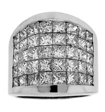 6.00ct PRINCESS  DIAMOND RIGHT HAND WIDE RING 18K WHITE GOLD