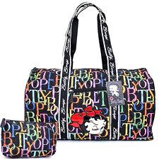 "Betty Boop Quilted Duffle Travel Bag Diaper Gym Bag -Rainbow Typo Black 21"" XL"