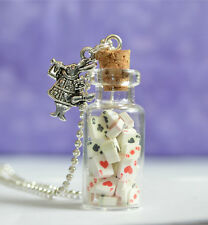 Alice In Wonderland Cards Glass Bottle Pendant Necklace, Pack of Playing Cards