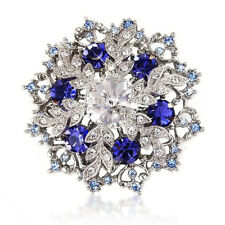 1p Auction Sapphire Blue Xmas Swarovski Element Crystals Brooch Pin Snowflake