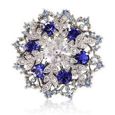 Subasta 1p Cristales Swarovski Element Navidad Azul Zafiro Broche Pin Copo De Nieve