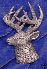 Empire Pewter Whitetail Deer Head 3/4 View Wildlife Pin