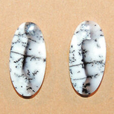 Dendritic Opal Pair of Cabochons 23x11.5mm with 4.5mm dome from Turkey (11555)