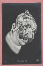 Vintage Metamorphic Postcard Guillaume II (Wilhelm) formed from nude women