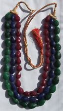 """Emerald, Ruby + Sapphire 20"""" Necklace 3 Strand 17-23mm Faceted Pear Bead E307."""