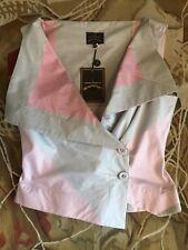 Una vez usado VIVIENNE WESTWOOD ANGLOMANIA Vintage asimétrica Blusa Camiseta Talla 42