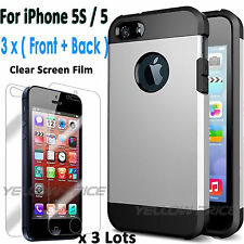 [Built-in HD Film]Shockproof Double Layers Hybrid Hard Soft Case for iPhone 5 5S