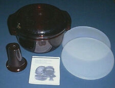 TUPPERWARE Microwave 6-pc MEAL MAKER / STACK COOKER Bowls, Seals & Lid CRANBERRY