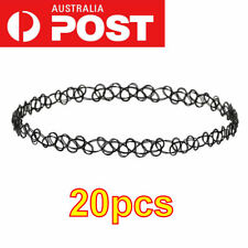 BULK 20 pcs 90's Black Tattoo Choker Necklace Vintage Elastic Stretch Gothic