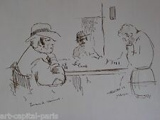 DESSIN À L'ENCRE 1956 SIGNÉ JOUEURS DE DOMINOS ESPAGNE HANDSIGNED INK DRAWING