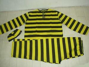 Déguisement Costume de Prisonnier Adulte Noir et Jaune (3)
