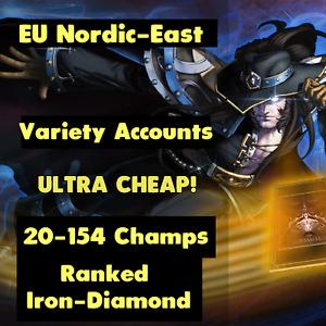 League of Legends LOL EUNE Account Smurf Random Skins Champs RP BE Un/Ranked