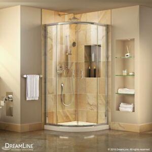 Prime 36x36 Frameless Sliding Shower Enclosure with White Base, Clear Glass