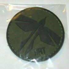 "HRT Tactical Gear PVC Morale Patch Vinyl Hook Backed 2.25"" OD Green Black Logo"