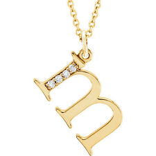 "Diamond Letter ""m"" 16 Lowercase Initial Necklace in 14kt Yellow Gold .025ctw"