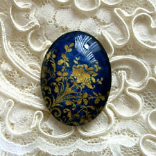 Gold On Blue Design 30X40mm Glitter Unset Handmade Glass Art Bubble Cameo Cab